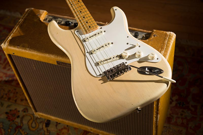 1957_Blonde_Stratocaster-with low power narrow panel 55 tweed twin